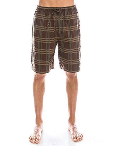 TINFL Men's Plaid Cotton Sleep Lounge Shorts Pajama Pants MSP-05-Darkbrown L