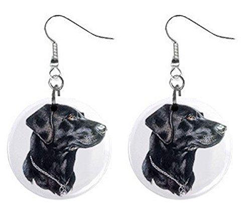 Black Lab Labrador Retriever Dog Jewelry Button Earrings 12135262