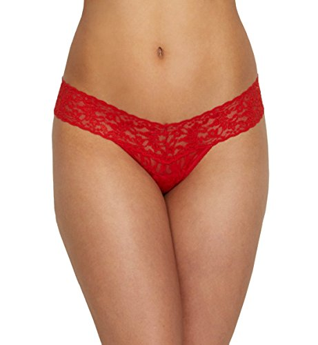 Hanky Panky Women's Signature Lace Low Rise Thong, Sriracha Red, One (Low Rise Spandex Bra)