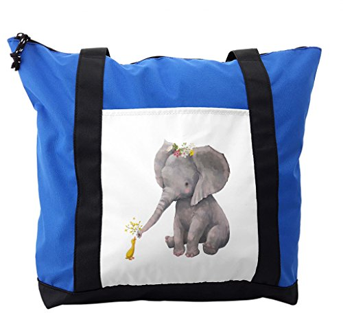 Lunarable Elephant Shoulder Bag, Cute Baby Elephant Duck, Durable with Zipper by Lunarable