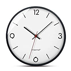 Giulot Round Silent Non Ticking Quartz Wall Clock - Elegant White Frame Modern Wall Clock 14- Battery Operated Digital Quiet Sweep Office Decor Clocks,Chrome Coated Metal Frame Glass Cover