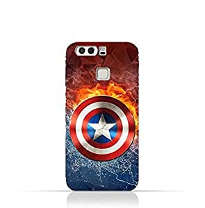 Huawei P9 Plus TPU Silicone Protective Case with Shield of Captain America Design