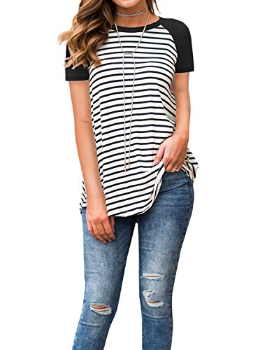 Adreamly Women's White and Black Striped Short Sleeve Baseball T Shirt Sport Tunic Tops Black Medium ()