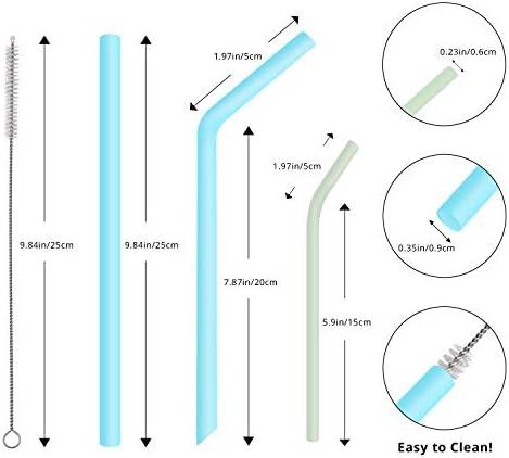 Alternativa al Pl/ástico Aptas para Lavavajillas con 2 Cepillos de Limpieza 8 Piezas Pajitas de Silicona Reutilizables PHYLES sin BPA Respetuosas con el Medio Ambiente