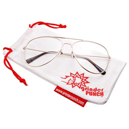 grinderPUNCH New Non-Prescription Premium Aviator Clear Lens Glasses Gold