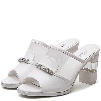 LvYuan Tacón Robusto-Confort-Sandalias-Oficina y Trabajo Vestido Informal-Sintético Semicuero-Negro Blanco White