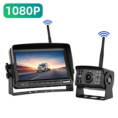 Wireless Backup Camera for Trucks Semi-Trailer Rv Trailer Camper, Digital Rear View Backup Camera System and Monitor Kit 7 inch 720P Reversing Monitor, Pickup Reverse Camera IP69 Night Vision