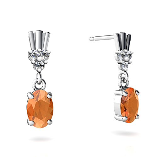 14kt White Gold Fire Opal and Diamond 6x4mm Oval Art Deco Dangle Earrings 14kt Gold 6 Diamond Earrings