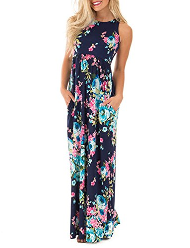 Tropical maxi dress Floral Sleeveless Formal Dress Wedding Guest Beach Party Dress in Navy Round Neck Loose Dress Plus Size for Women, Blue M