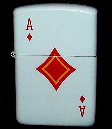 P.I.I. White Enamel Ace of Diamonds Cigarette Lighter