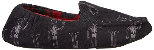 Trimfit Boys' Glow in The Dark Skelton Loafer Slippers Moccasin, Black/White/Red, 11/12 M US Little Kid by Trimfit (Image #8)