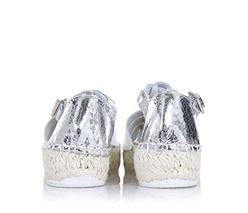 LAGOA - Sandale argent et blanche, en cuir et glitter, idéale pour ceux qui cherchent une création de qualité, Fille, Filles, Femme, Femmes