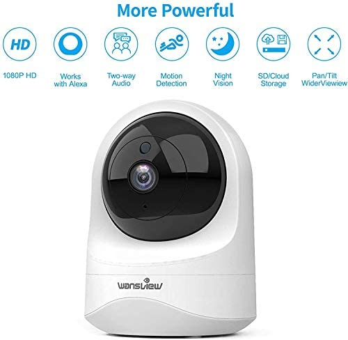 41bW5kUQHzL. AC - Baby Monitor Camera, Wansview 1080PHD Wireless Security Camera For Home, WiFi Pet Camera For Dog And Cat, 2 Way Audio, Night Vision, Works With Alexa Q6-W …