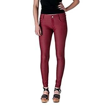 Yelete Womens Cotton Blend Pull On Color Jeggings (Burgundy, S/M)