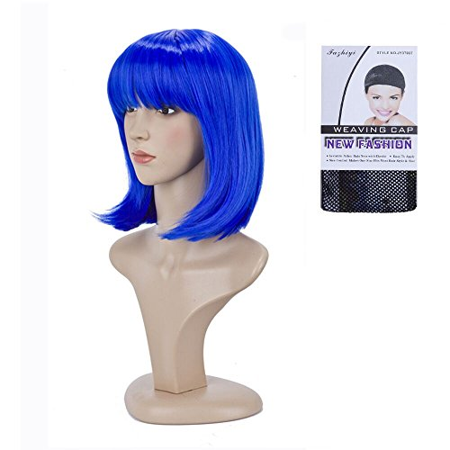 BeliHair Blue Costumes Wigs for Women Short BOB Straight Synthetic Hair Wig with Flat Bangs for Cosplay Halloween Party Hot Natural As Real Hair + Free Wigs Cap 12 inch