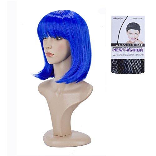 BeliHair Blue Costumes Wigs for Women Short BOB