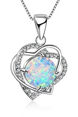 Fortonatori Created White Opal Necklace Heart Double 925 Silver Pendant Necklace 18'' Chain by Fortonatori