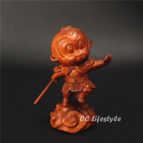 YZDSBD Statues Figurines Sculptures Wood Statue Monkey King Sun Wukong Journey to The West China Gift Carved Creative Decor Figurine Home Decoration Miniature Sale (Sun Wukong Journey To The West Art)