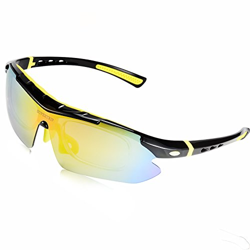Supertrip Polarized UV400 Protection Glasses Sunglasses with 5 Interchangeable Lenses Myopia Eyes for Men Women Cycling Running Ski Golf Riding Driving Fishing Hiking Glasses Color - Prescription For Sunglasses Attachment Sunglass