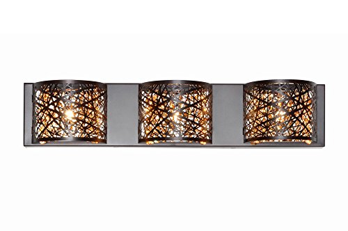 ET2 E21316-10BZ Inca 3-Light Wall Mount Bath Vanity, Bronze Finish, Cognac Glass, G9 Xenon Bulb, 35W Max., Dry Safety Rated, 2900K Color Temp., Low-Voltage Dimmable, Metal Shade Material, 2560 Rated Lumens by ET2 Lighting