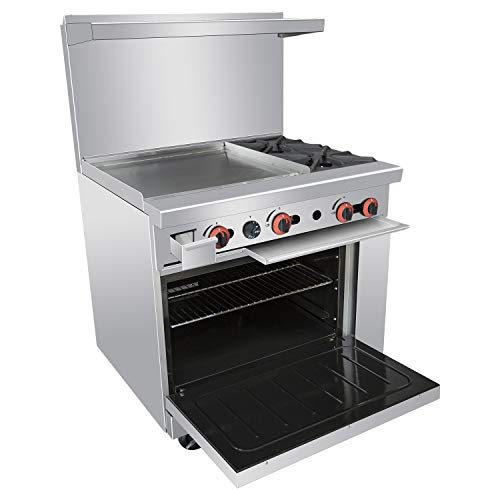 - Commercial 36'' Gas 2 Burner Range With Griddle and Standard Oven - Kitma Heavy Duty Liquid Propane Cooking Performance Group for Kitchen Restaurant, 121,000 BTU