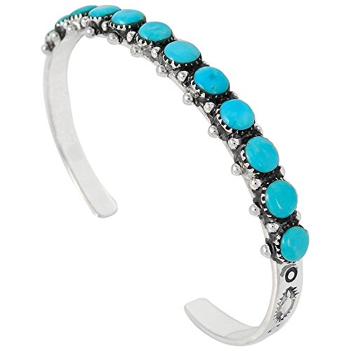 Turquoise Bracelet Sterling Silver 925 Genuine Turquoise Gemstones Cuff Bracelet (Turquoise)