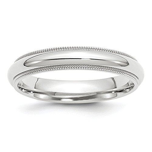 White Gold 4mm Milgrain Comfort Fit Wedding Band Ring Size 10 (14k White Gold Stock)