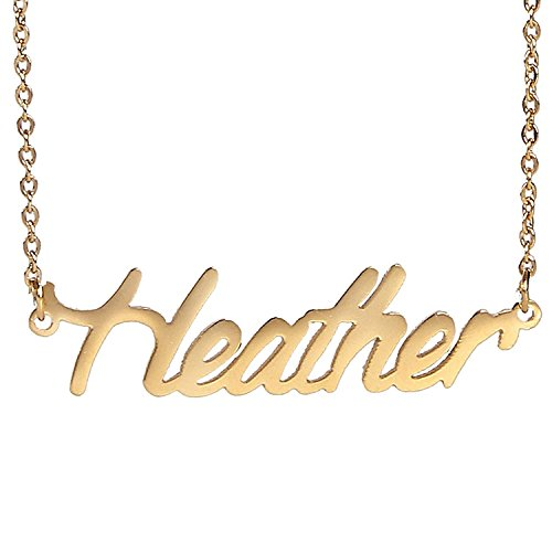 HUAN XUN Gold Color Plated Small Name Necklace, Heather