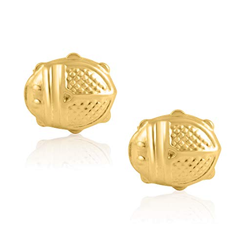 14KT Yellow Gold Small Lady Bug Children's and Baby Girls Stud Earrings - Charming with Secure Screw Back Safety Closure
