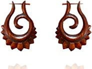 Ethnic Arts India Women's African Wudu Craft Taboo Tribal Wooden Stick Earring Brown WER