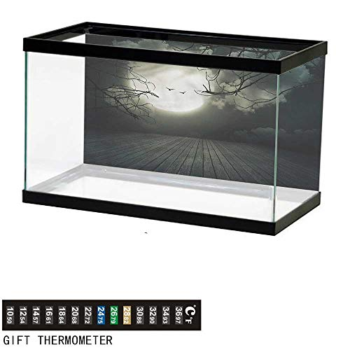 - bybyhome Fish Tank Backdrop Halloween,Floor Leafless Branches,Aquarium Background,30