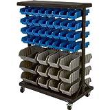 Strongway 88-Bin Double-Sided Rolling Bin Rack
