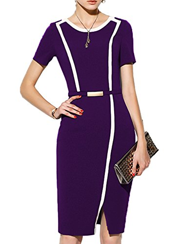 MUSHARE Women's Short Sleeve Colorblock Belt Midi Cocktail Party Penci Dress