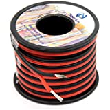 14 awg Silicone Electrical Wire 2 Conductor Parallel Wire line 50ft [Black 25ft Red 25ft] 14 Gauge Soft and Flexible Hook Up oxygen free Strands Tinned copper wire