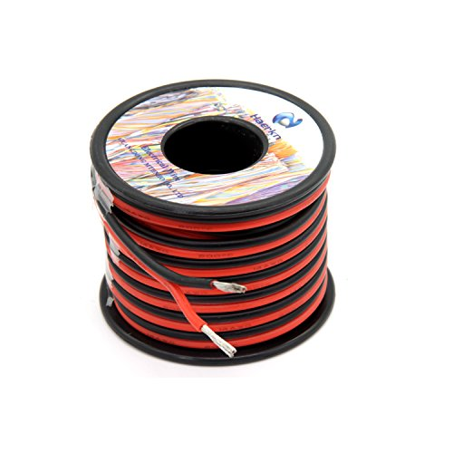 14 Awg Silicone Wire (14 awg Silicone Electrical Wire 2 Conductor Parallel Wire line 50ft [Black 25ft Red 25ft] 14 Gauge Soft and Flexible Hook Up oxygen free Strands Tinned copper wire)