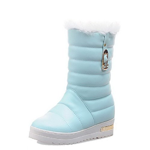 Allhqfashion Women's Pull-on Kitten-Heels PU Solid Low-top Boots Blue sVMB8