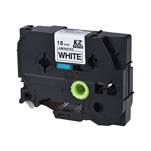 Walmeck Laminated Label Tape Black on White Compatible for Brother P-touch Label Printer PT-1010/PT-2100/PT-18R/PT-E200/PT-9500 18mm - Mm Labelling Tape 18