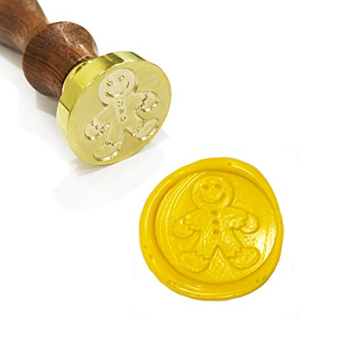 UNIQOOO Arts & Crafts Cute Gingerbread Man Wax Sealing Stamp, Great for Embellishment of Envelope, Post Card, Snail Mail, Invitations, Wine Packages, Gift Decoration, etc-Exceptional Gift - Gingerbread Embellishments