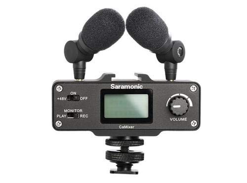 Saramonic CaMixer Microphone Kit with Dual Stereo Condenser Mics, Digital Mixer & XLR/Mini-XLR Input with +48V Phantom Power Preamp - for DSLR Cameras and Camcorders (Preamplifier Stereo Kit)