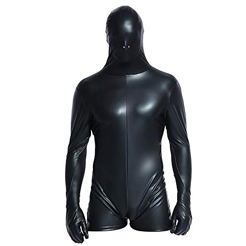 - 41bW8DwD 2BjL - Sexy Men's Faux Leather Wet Look Catsuit Vinyl Bondage Halloween Costume Fetish Zentai Jumpsuit Clubwear Bodysuit