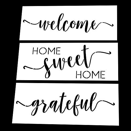 AZDIY Reusable Stencil Set - Home Sweet Home, Welcome, Grateful Stencils - Word Stencils for Painting on Wood- Laser Cut Painting Stencil - for Home Décor & DIY Projects (Vinyl Letters Stencil)
