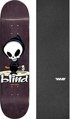 Bundle of 2 Items Blind Skateboards Kevin Romar OG Logo Skateboard Deck Resin-7-8.12 x 31.9 with Jessup WS Die-Cut Black Griptape
