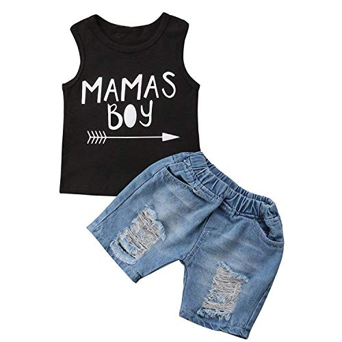 - GRNSHTS Toddler Baby Boys Summer Vest Tops Shirt and Denim Pants Shredded Jeans Shorts Set Outfits (Black 2, 2-3 Years)