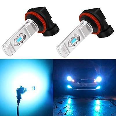 Alla Lighting 3600lm Xtreme Super Bright H11 LED Bulbs H11 Fog Light High Illumination ETI 56-SMD LED H11 Bulb H8 H16 H11 Fog Lights Lamp Replacement - 8000K Ice Blue