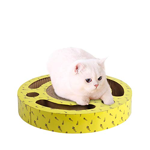 PAWISE Cat Scratcher Toy with Play Balls Inside, Kitten Cardboard with Natural Catnip Included, Large, 13 Inch in Diameter