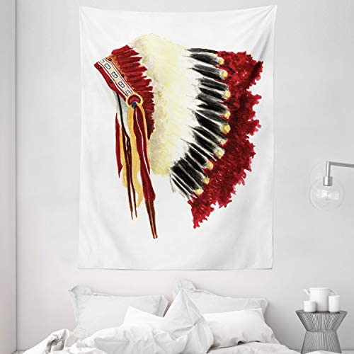 Ambesonne Native American Tapestry, Original Ethnic Symbolic Eagle Feather Headdress Native Life Style, Wall Hanging for Bedroom Living Room Dorm, 60 W X 80 Inches, White Red Black