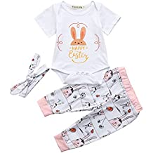 Daoroka Infant Baby Boys Girls 3pc Set Happy Easter Rabbit Printed Outfit Set Short Sleeve Romper Cute Pants With Headband (70/3M, White)