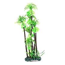 Dimart Artificial Plastic Natural Coconut Tree Plant Simulation Ornaments for Fish Tank Aquarium Decoration (Green)