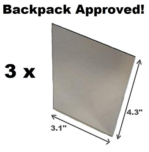 (LOT of 3 Unbreakable Mirrors - For the Outdoors, Camping, Hiking, Survival, Signal Mirror, Morse Code, Backpack Approved 3