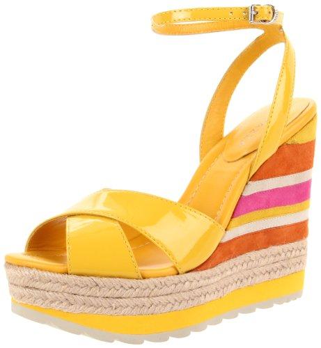 Apepazza Leather Wedges - Apepazza Women's Luce Ankle-Strap Sandal,Yellow Patent,41 EU/11 M US